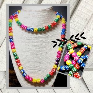 Vintage Wood Bead Hand-Painted Necklace